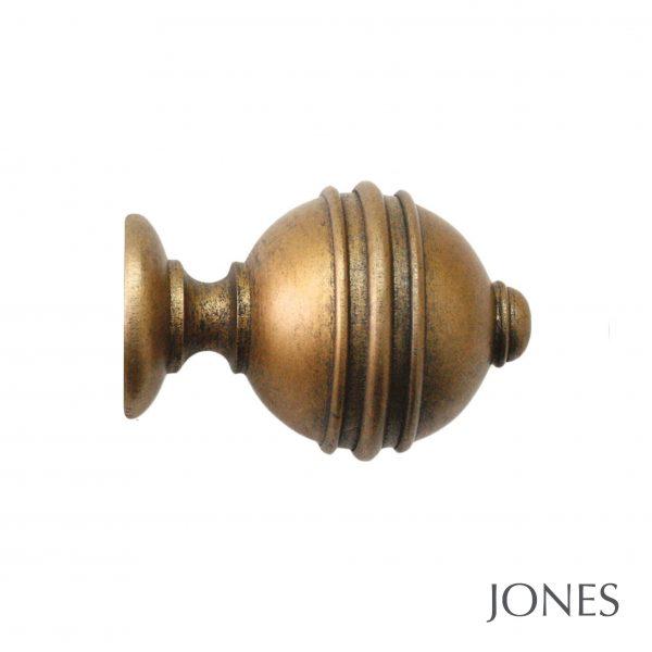 50mm Jones Florentine Ribbed Ball Finial antique gold