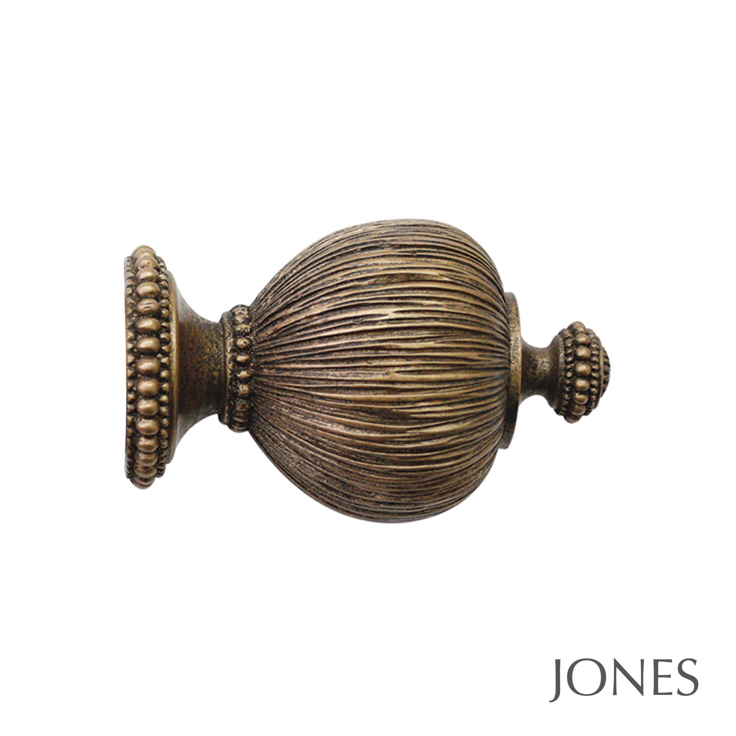 50mm Jones Florentine Pleated Finial antique gold
