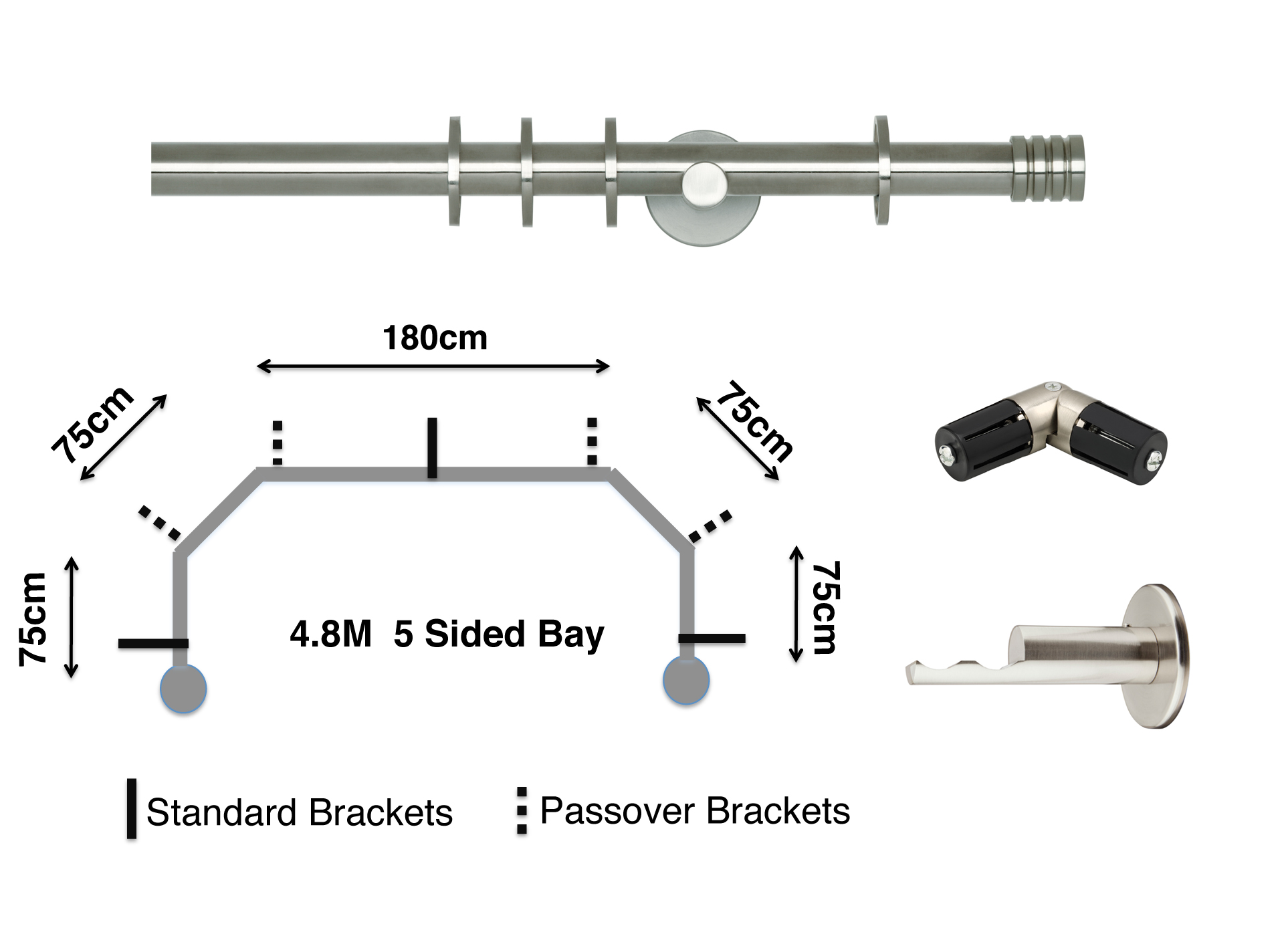 Rolls Neo 19mm 5 Sided Bay Curtain Pole Stud The Home Of