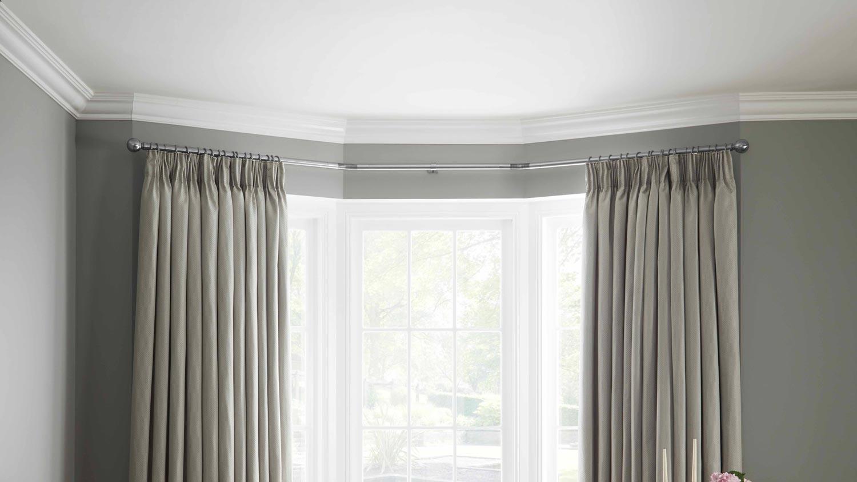 Neo Bay Window Curtain Poles Heavyweight Eyelet Curtains
