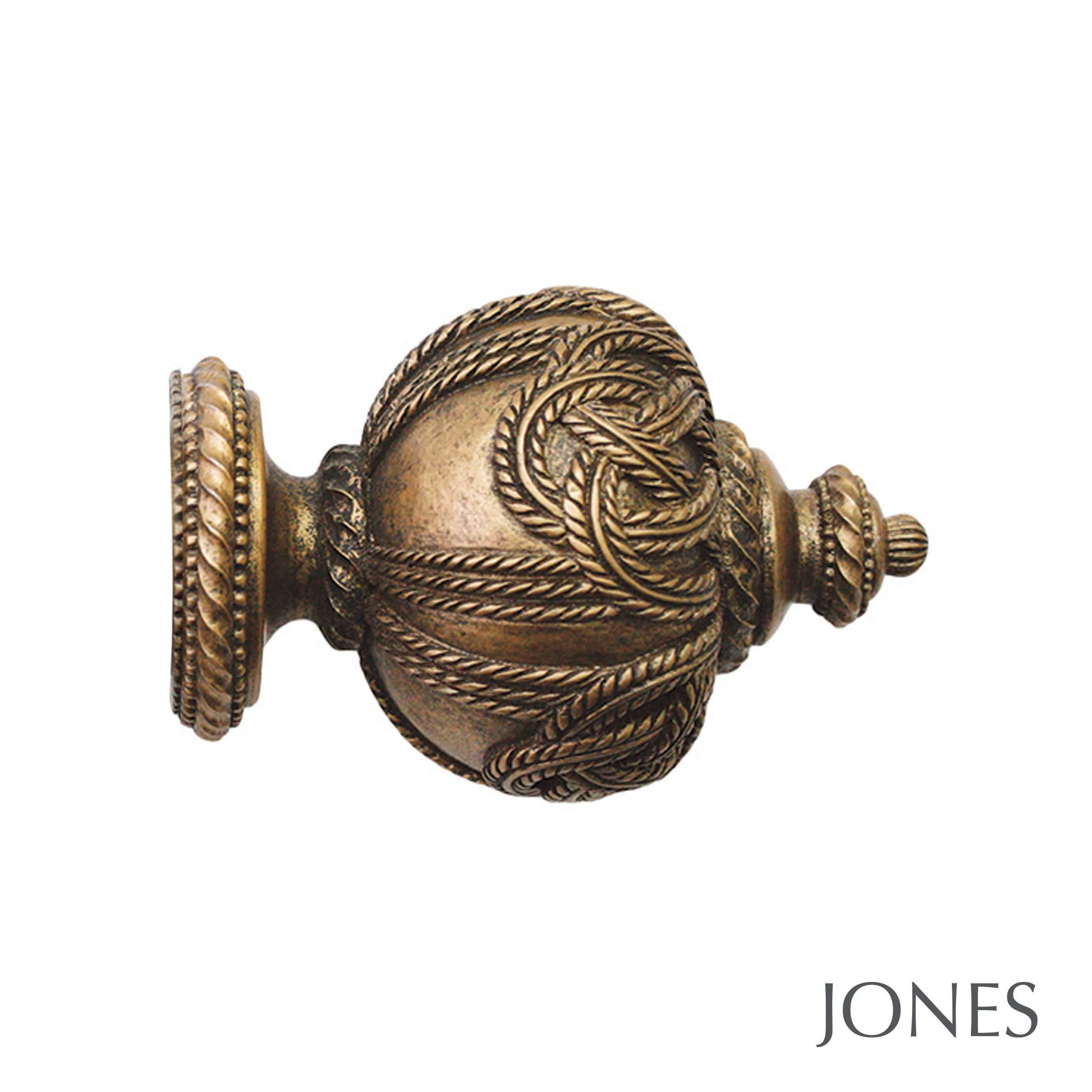 50mm Jones Florentine Rope Finial antique gold